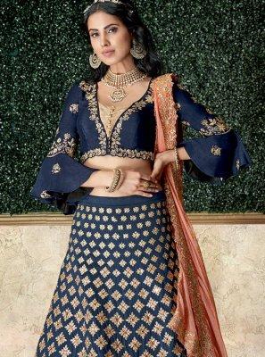 Tafeta Silk Resham Blue Lehenga Choli