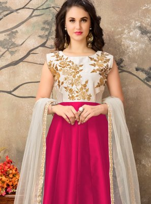 Tafeta silk Resham Work Floor Length Anarkali Suit