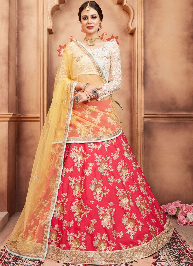 37491ca8979 Buy Tafeta Silk Rose Pink Embroidered Lehenga Choli Online   106505 -