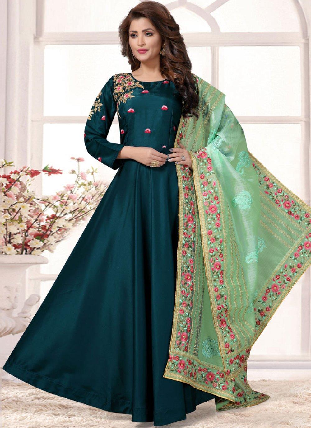 Tafeta Silk Teal Plain Readymade Anarkali Salwar Suit