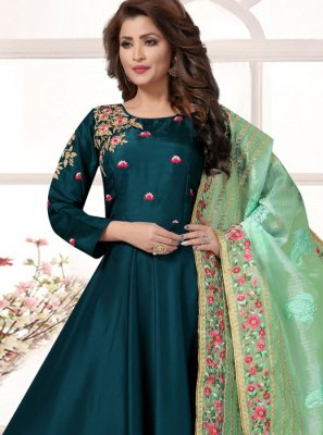 Tafeta Silk Teal Plain Readymade Anarkali Salwar Suit
