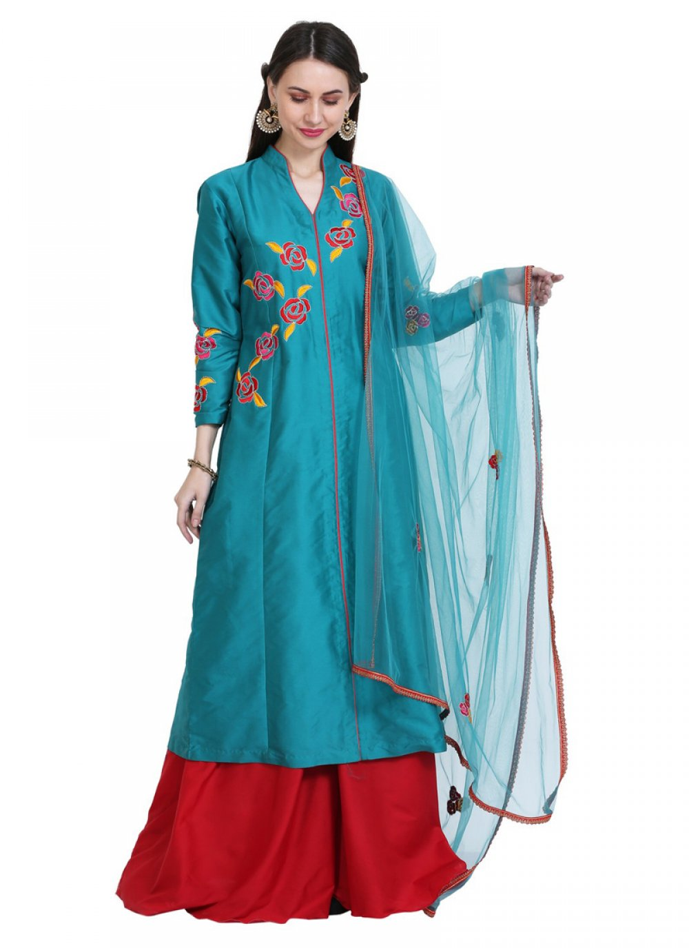 Tafeta Silk Teal Thread Readymade Salwar Kameez