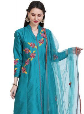 Tafeta Silk Teal Thread Readymade Salwar Kameez
