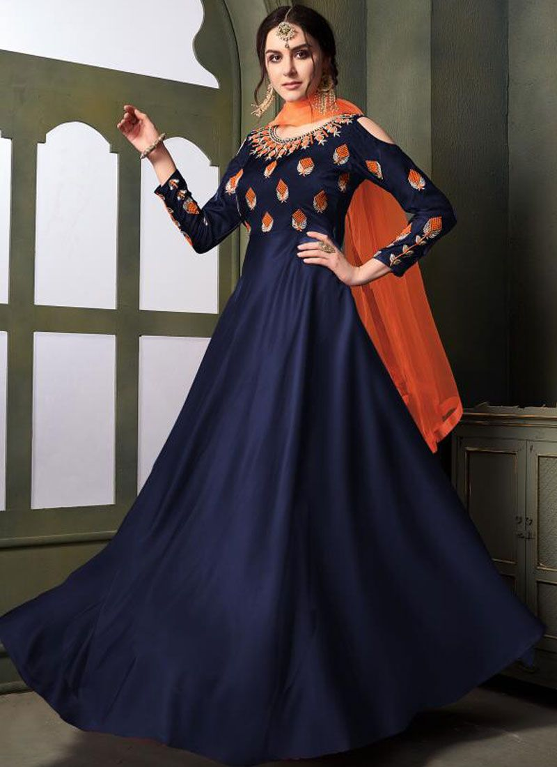 Tafeta Silk Trendy Gown in Navy Blue