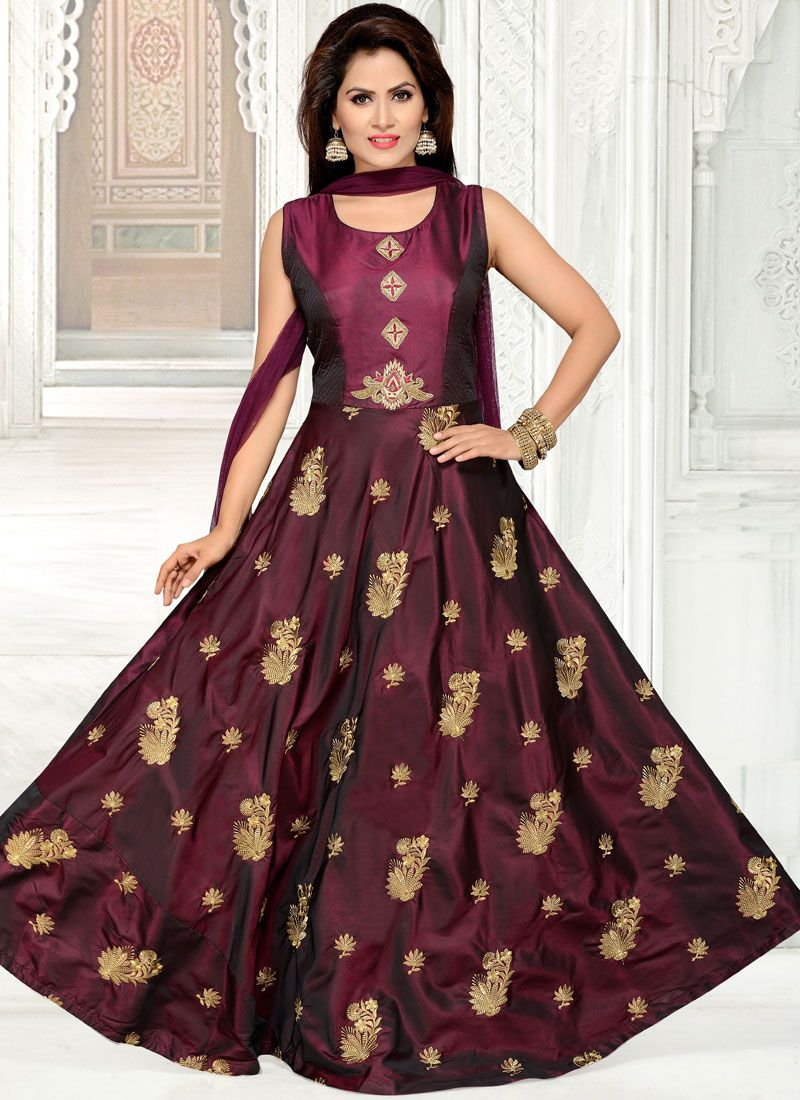 Tafeta Silk Wedding Readymade Anarkali Suit