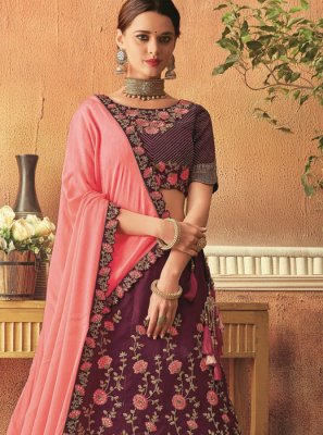 Tafeta Silk Wine Patch Border Lehenga Choli
