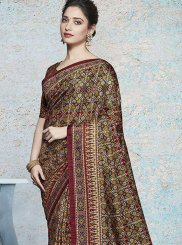 Tamannaah Bhatia Art Silk Abstract Print Multi Colour Printed Saree