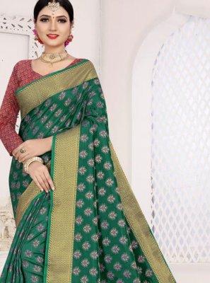 Teal Art Silk Cotton Casual Saree
