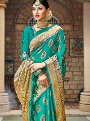 Teal Art Silk Designer Saree
