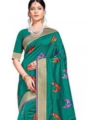 Teal Art Silk Designer Traditional Saree