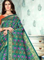 Teal Art Silk Designer Traditional Saree