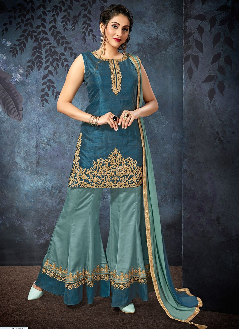 Teal Art Silk Embroidered Designer Palazzo Salwar Suit