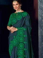 Teal Art Silk Embroidered Designer Saree