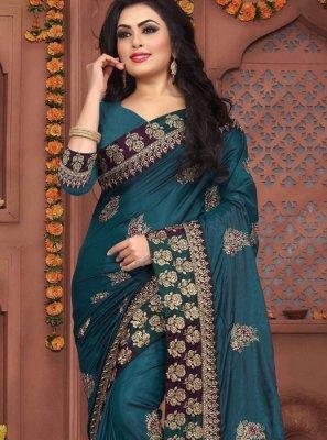 Teal Art Silk Embroidered Traditional Designer Saree