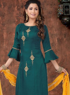 Teal Art Silk Readymade Suit