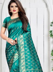 Teal Art Silk Weaving Silk Saree