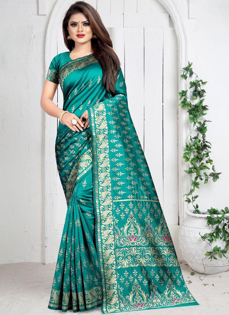 Teal Art Silk Weaving Silk Saree
