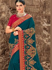 Teal Bridal Art Silk Traditional Saree