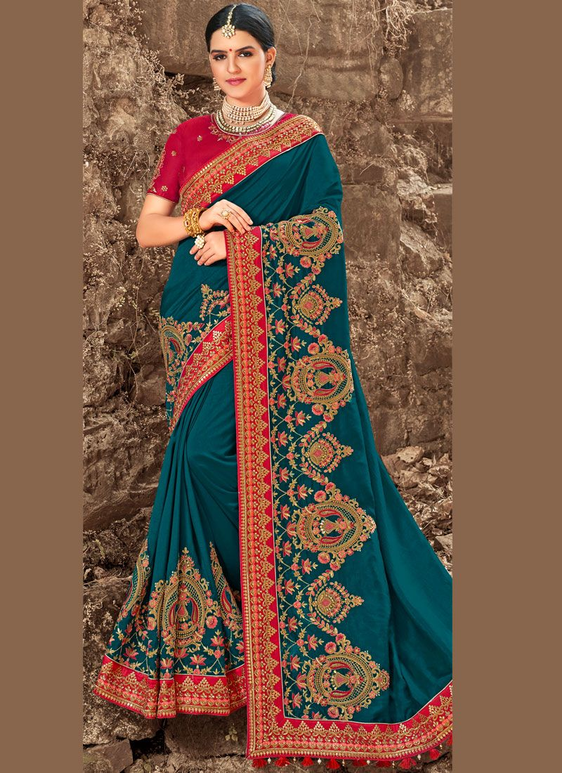 Teal Bridal Art Silk Traditional Saree