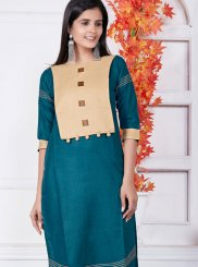 Teal Casual Cotton Casual Kurti