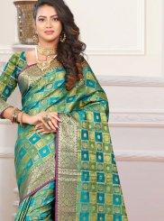 Teal Casual Patola Silk  Classic Designer Saree