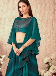 Teal Ceremonial Trendy Lehenga Choli