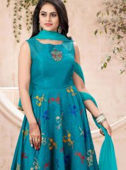 Teal Chanderi Designer Gown