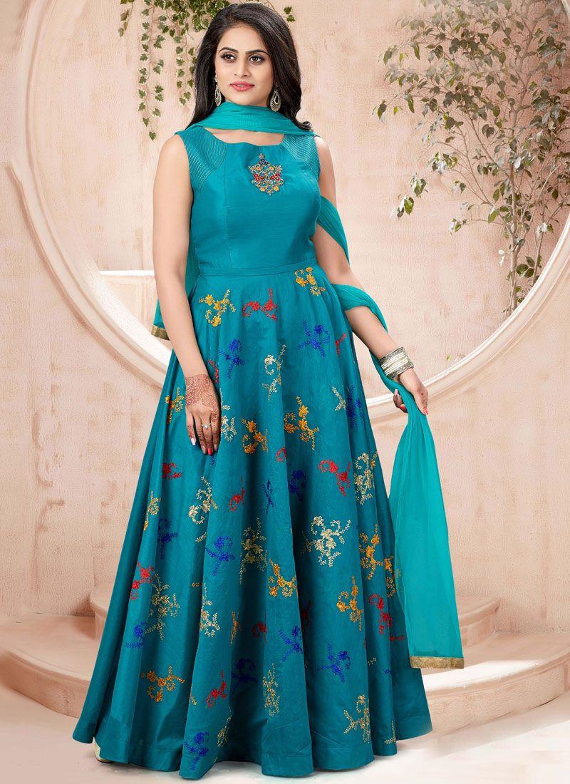 Teal Chanderi Designer Gown