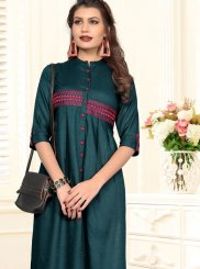 Teal Color Casual Kurti