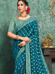 Teal Color Designer Traditional Saree
