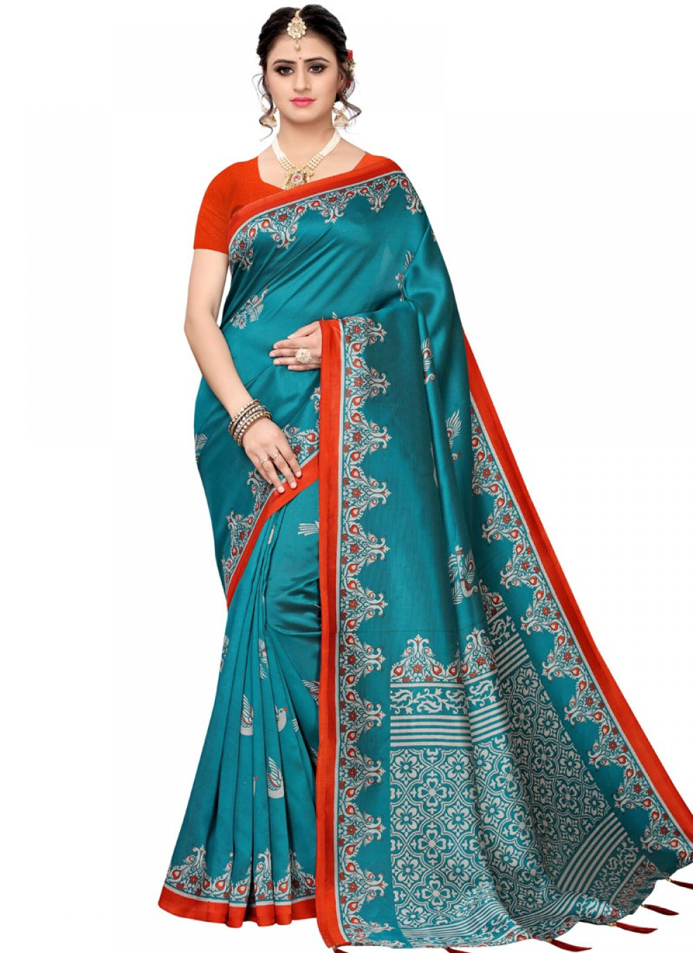 Teal Color Traditional Saree