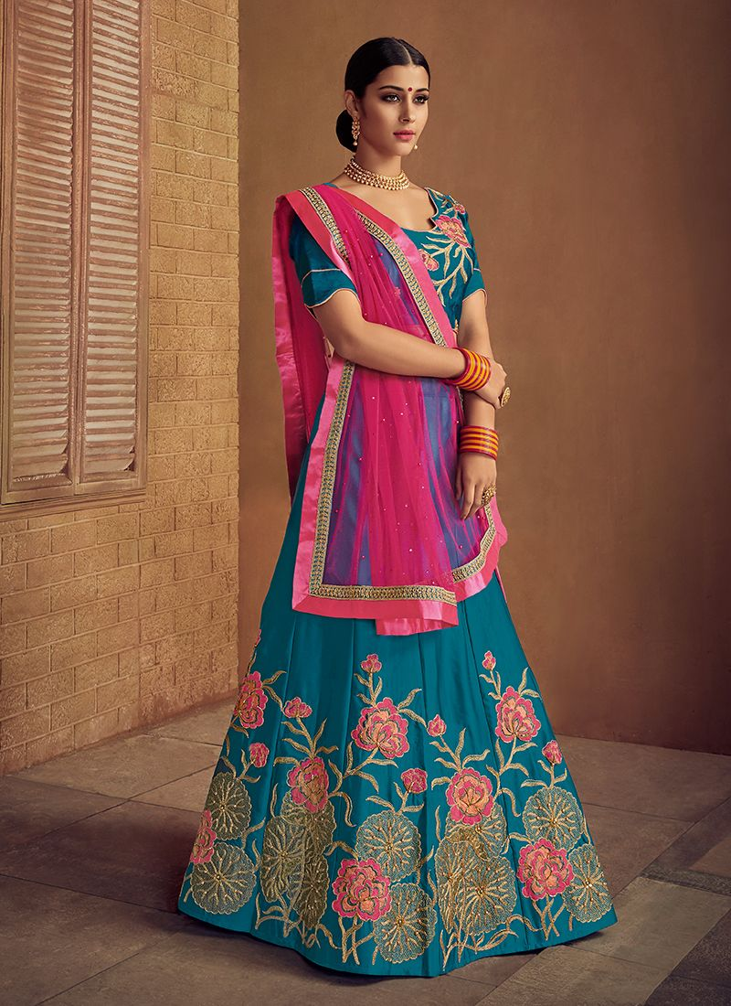Teal Color Trendy Lehenga Choli