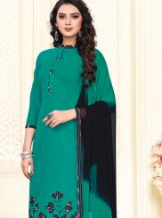 Teal Cotton Churidar Suit