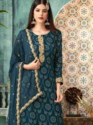 Teal Designer Palazzo Salwar Suit