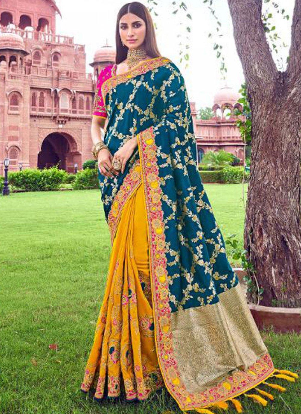 Teal Designer Traditional Saree