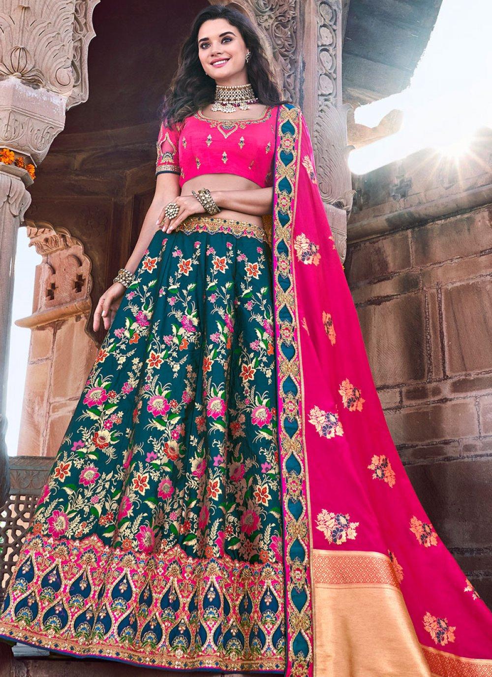 Teal Embroidered Banarasi Silk Trendy Lehenga Choli