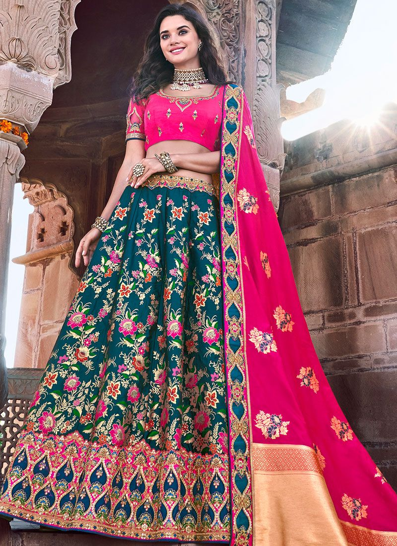 Teal Embroidered Banarasi Silk Trendy Lehenga Choli