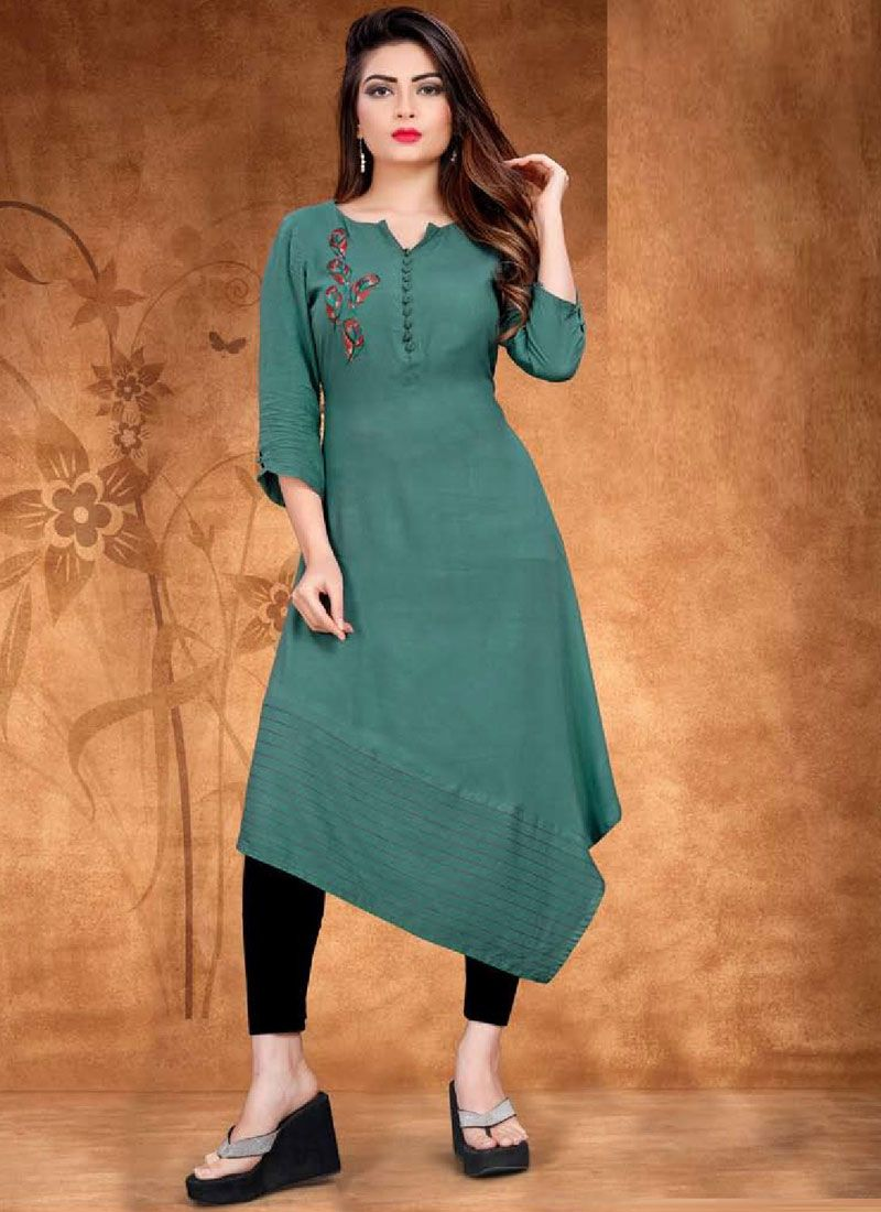 Teal Embroidered Casual Kurti