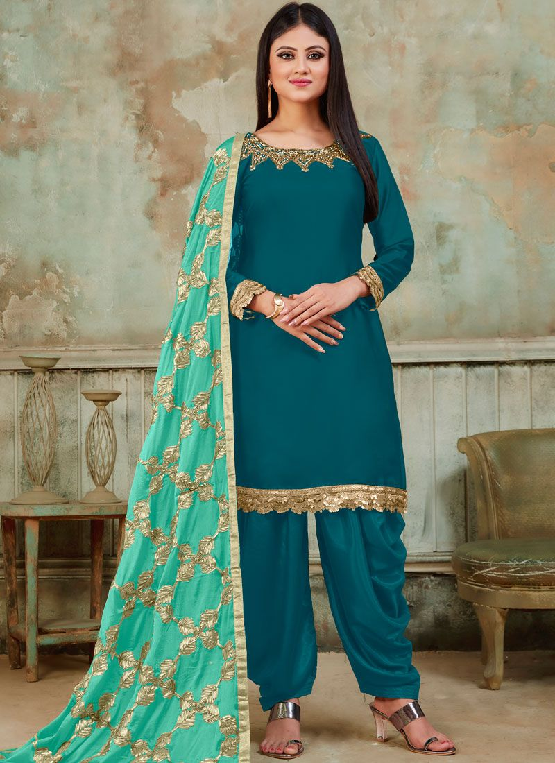 Teal Embroidered Designer Patiala Suit