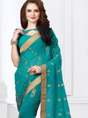 Teal Embroidered Faux Georgette Saree