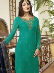Teal Embroidered Mehndi Pant Style Suit