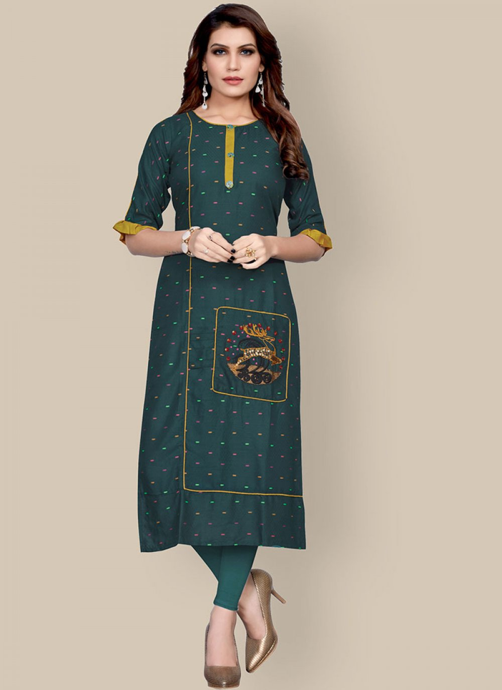 Teal Embroidered Rayon Party Wear Kurti