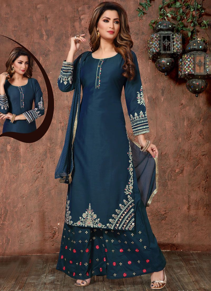 Teal Embroidered Readymade Suit