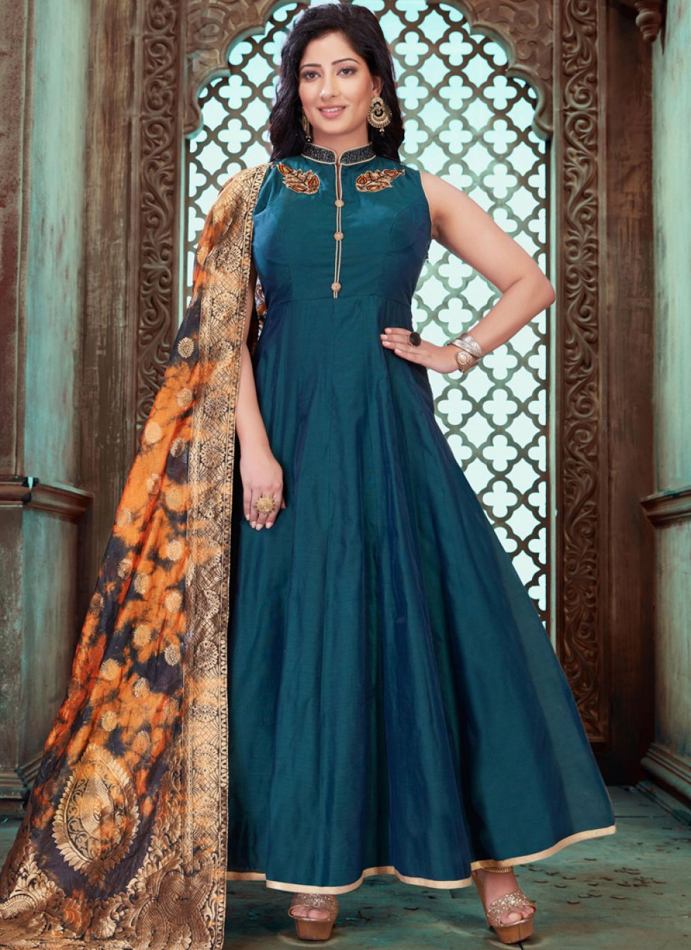 Teal Embroidered Reception Designer Gown