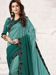 Teal Embroidered Traditional Saree
