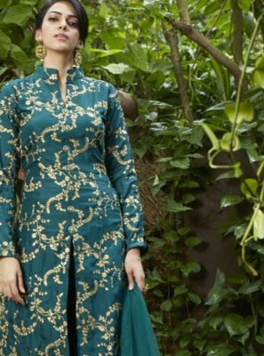 Teal Fancy Art Silk Readymade Suit