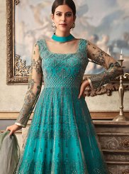Teal Fancy Fabric Floor Length Anarkali Suit