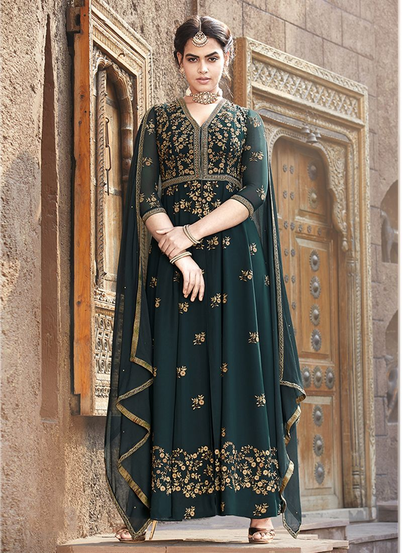 Teal Faux Georgette Festival Floor Length Anarkali Suit