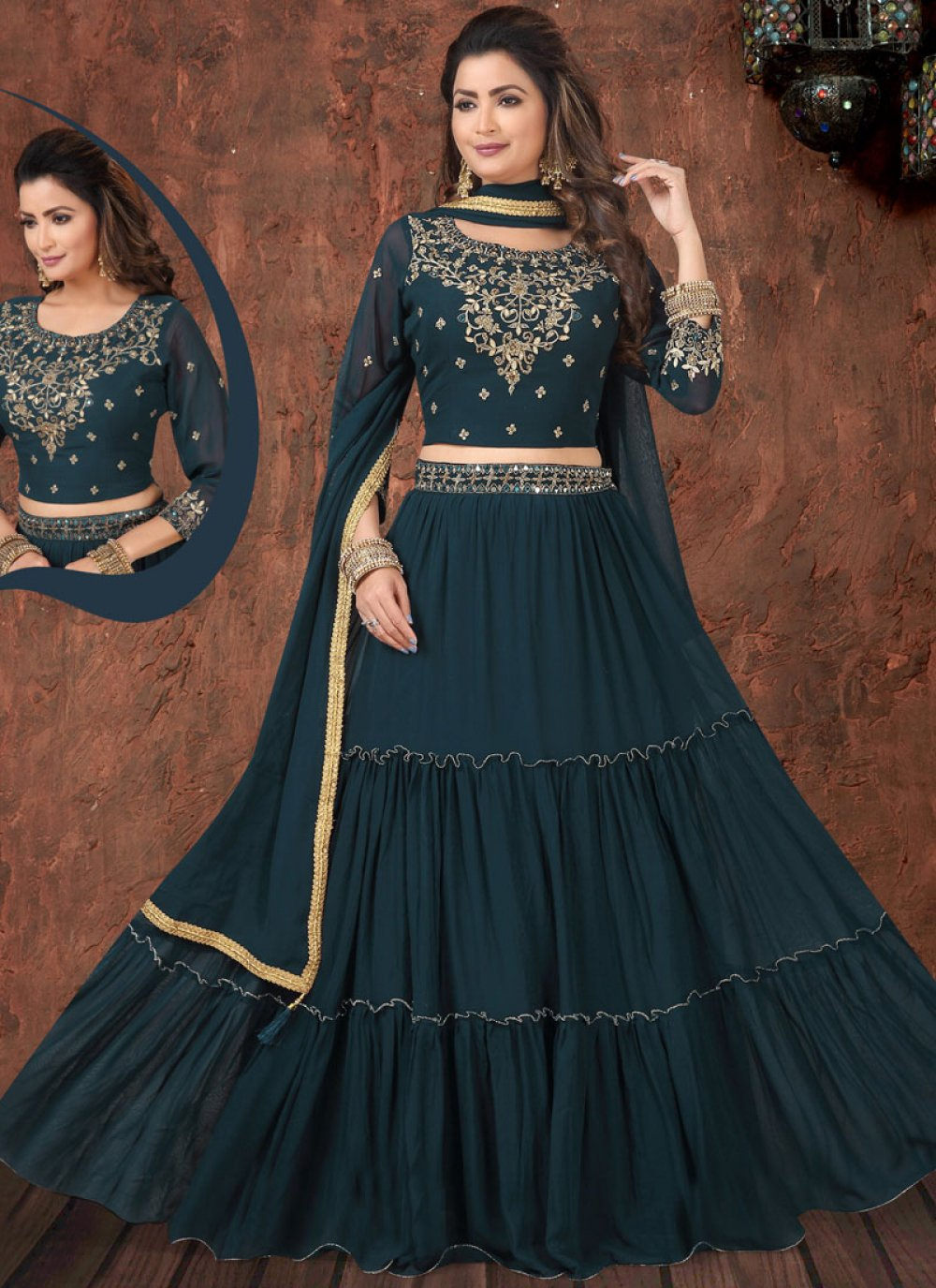 Teal Faux Georgette Readymade Lehenga Choli