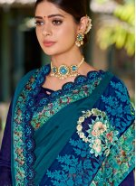 Teal Festival Fancy Fabric Designer Traditional Saree
